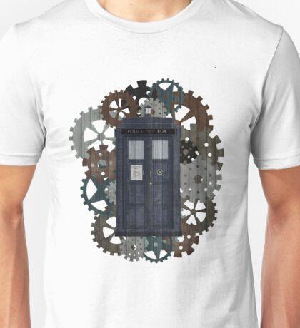 Wooden TARDIS with Clockwork  Unisex T-Shirt