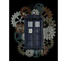 Wooden TARDIS with Clockwork  Photographic Print
