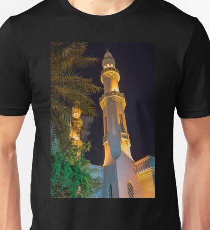 United Arab Emirates. Dubai. Mosque. Minarets. Night. Unisex T-Shirt