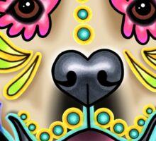 Day of the Dead Golden Retriever Sugar Skull Dog Sticker
