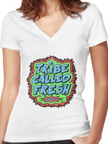 Tribe Called Fresh Women's Fitted V-Neck T-Shirt