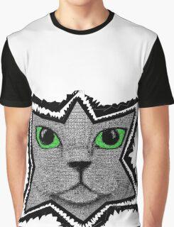 Peeking Pixel Cat Graphic T-Shirt