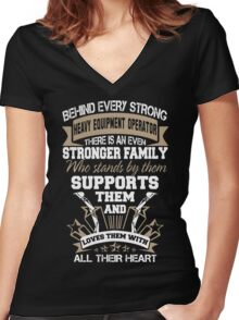 sexy heavy equipment operator  Women's Fitted V-Neck T-Shirt