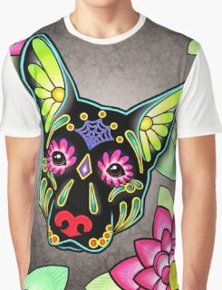 Day of the Dead German Shepherd in Black Sugar Skull Dog Graphic T-Shirt
