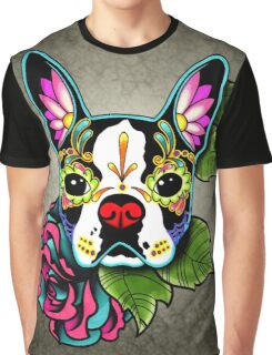 Day of the Dead Boston Terrier Sugar Skull Dog Graphic T-Shirt