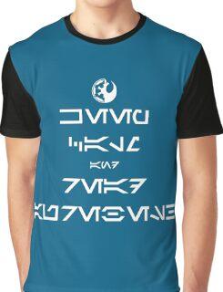 KEEP CALM and READ AUREBESH (white) Graphic T-Shirt