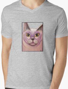 Lilac Burmese Cat Painting Mens V-Neck T-Shirt