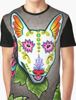 Day of the Dead Bull Terrier Sugar Skull Dog Graphic T-Shirt