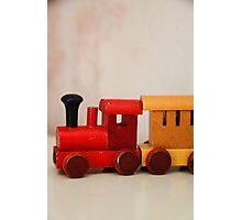 A cute little wooden train Photographic Print