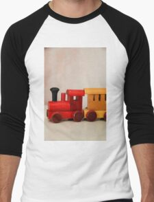 A cute little wooden train Men's Baseball ¾ T-Shirt