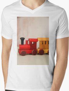A cute little wooden train Mens V-Neck T-Shirt