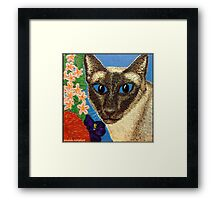 Siamese Cat With Bush Flowers Framed Print