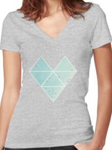 Free Birds in Blue Sky Women's Fitted V-Neck T-Shirt