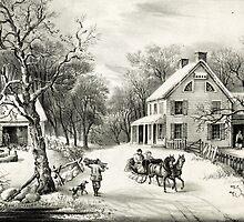 American homestead winter - Currier & Ives - 1868 by CrankyOldDude