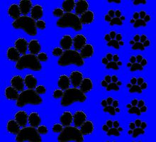 Paw Prints Pattern on Blue by amanda metalcat dodds