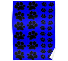 Paw Prints Pattern on Blue Poster