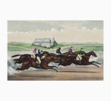 American Jockey Club Races - Jerome Park - Tom Bowling Winning - Currier & Ives - 1873 Kids Tee