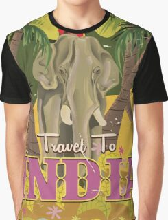 indian elephant vintage travel poster, Graphic T-Shirt
