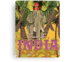 indian elephant vintage travel poster, Canvas Print