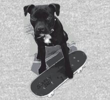 SK8 Staffy Dog black and white One Piece - Long Sleeve