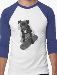 SK8 Staffy Dog black and white Men's Baseball ¾ T-Shirt