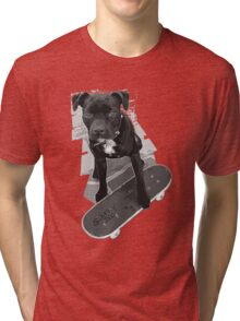 SK8 Staffy Dog black and white Tri-blend T-Shirt