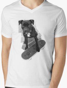 SK8 Staffy Dog black and white Mens V-Neck T-Shirt