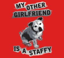 My Other Girlfriend Is A Staffy in Black and White Kids Tee