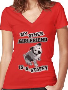 My Other Girlfriend Is A Staffy in Black and White Women's Fitted V-Neck T-Shirt