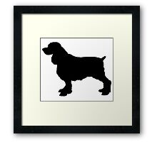 English Springer Spaniel Dog Silhouette, Freehand Drawing Framed Print