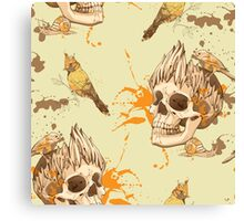 seamless pattern with skull, bird and snail, with blots of paint in background Canvas Print