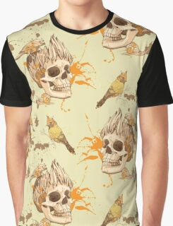 seamless pattern with skull, bird and snail, with blots of paint in background Graphic T-Shirt
