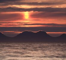 Red Sunset over Sound of Jura by Maria Gaellman