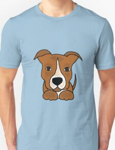Cool Funny Brown and White Pitbull Puppy Dog T-Shirt