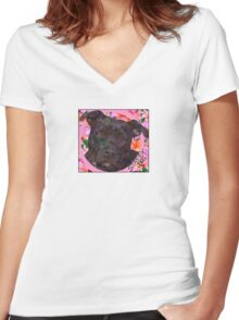 Staffy Dog Goes Floral! Women's Fitted V-Neck T-Shirt