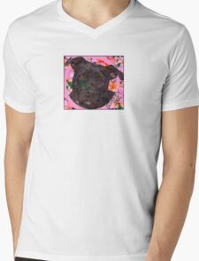 Staffy Dog Goes Floral! Mens V-Neck T-Shirt