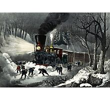 American railroad scene - snowbound - Currier & Ives - 1871 Photographic Print