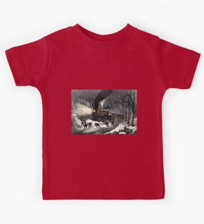 American railroad scene - snowbound - Currier & Ives - 1871 Kids Tee