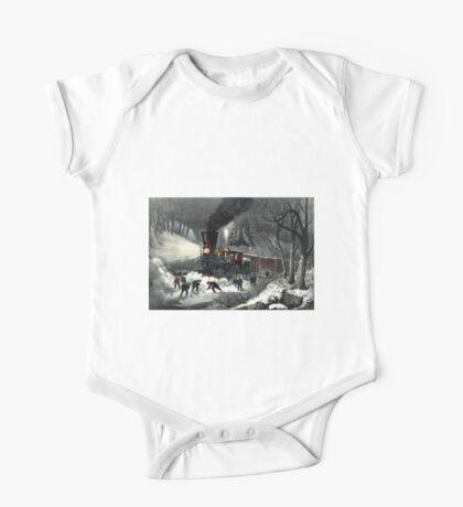 American railroad scene - snowbound - Currier & Ives - 1871 One Piece - Short Sleeve