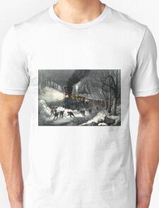 American railroad scene - snowbound - Currier & Ives - 1871 T-Shirt