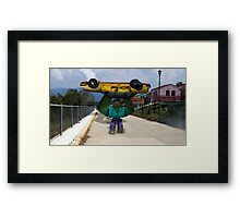 Minecraft: Mutant Zombie with Taxi Framed Print