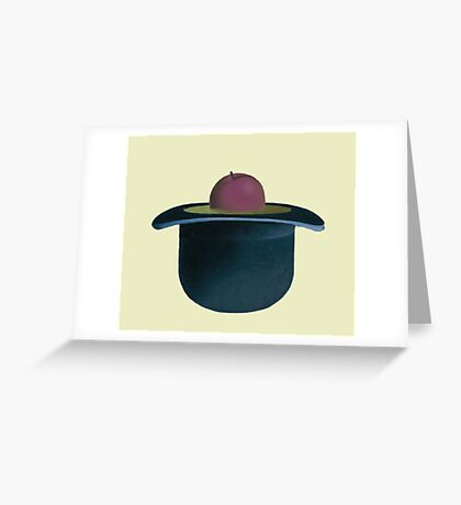 A single plum floating in perfume served in a man's hat Greeting Card