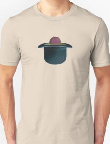 A single plum floating in perfume served in a man's hat T-Shirt