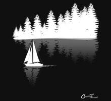Sailing - Treeling White on Black One Piece - Short Sleeve