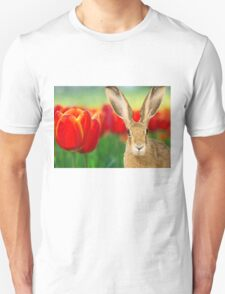 easter bunny hare rabbit tulips T-Shirt