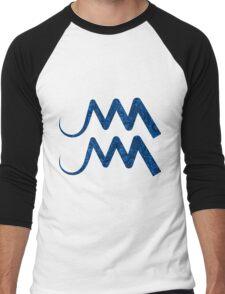 Blue Paisley Aquarius Star Sign Men's Baseball ¾ T-Shirt