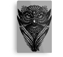 Hand Inked Night Owl Metal Print