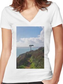 A Lone Tree Women's Fitted V-Neck T-Shirt