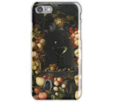 Johannes Borman A ROEMER WITH WALNUTS AND ALMONDS IN A NICHE SURROUNDED BY A GARLAND OF FRUITS, WITH WASPS AND LADYBIRDS, AND A CANOPY ABOVE iPhone Case/Skin
