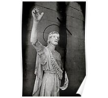Beautiful old stone religious statue of Jesus Poster